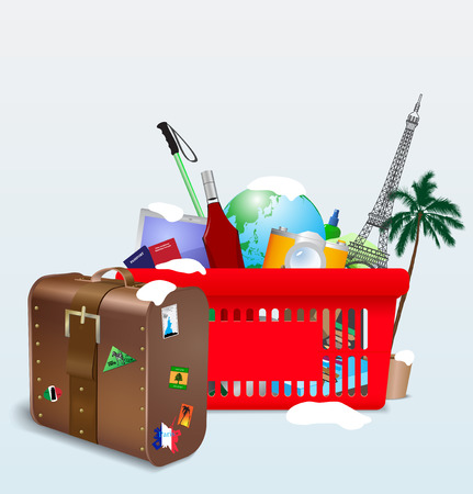 winter vacation: Illustration for winter of vacation shopping cart