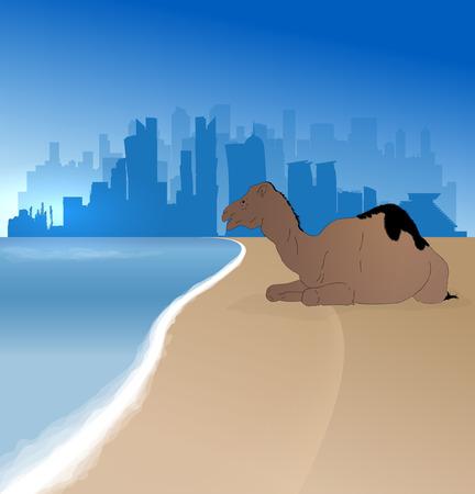 doha: Doha silhouette skyline  with single camel