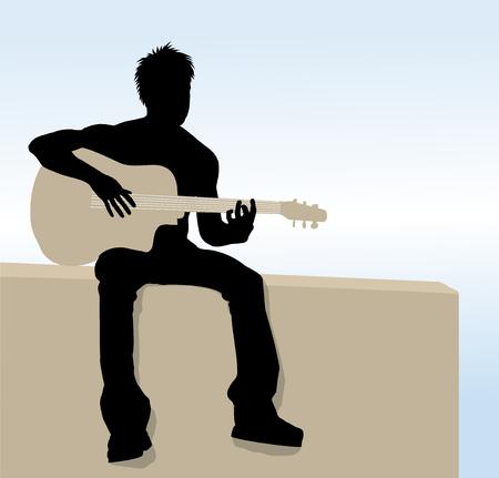 ギターを弾く男のイラスト シルエット