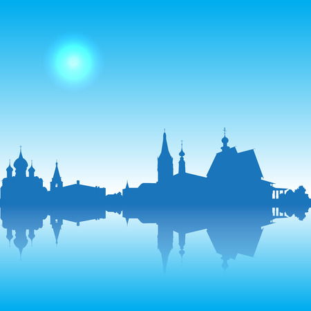 golden ring: Russia  Golden Ring Suzdal cityscape silhouette skyline Illustration