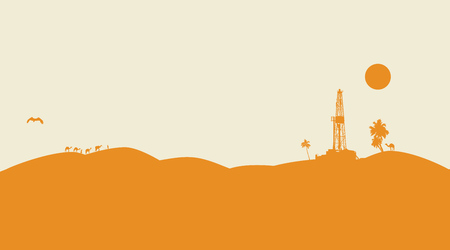 camels: Oil drilling background with dunes and camels