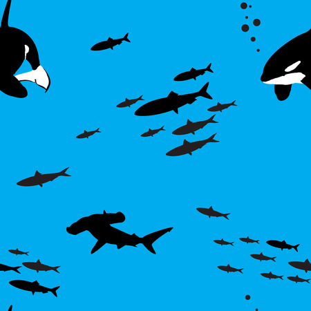 hammerhead shark: Seamless blue vector pattern with sea creatures silhouettes