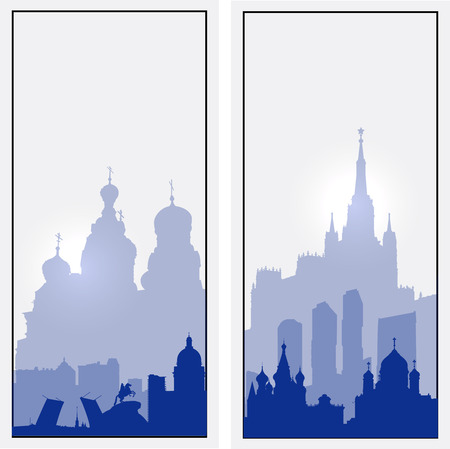petersburg: Vector Russia vertical banners. St. Petersburg  and Moscow cityscape silhouettes
