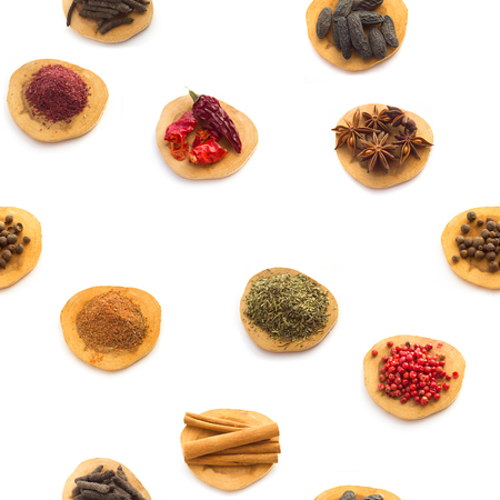 badiane: Seamless White background  with Collection  of Spices and herbs