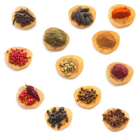 peppar: White background  with Collection  of Spices and herbs