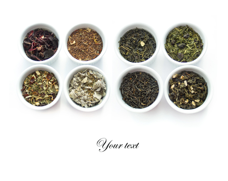 brewed: Herbal tea collection. White  cups isolated on white