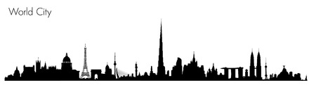 shanghai skyline: Vector World Monuments. Detailed illustration of most famous buildings