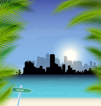 pal: Miami Illustration with tropical background, sea and pal tree.
