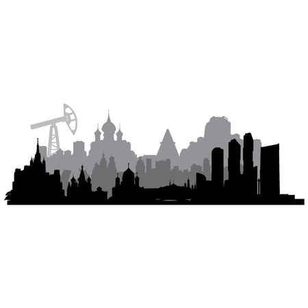 gaz: Russia cities  silhouette with  oil pumps. Illustration
