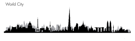 shanghai skyline: World Monuments. Detailed illustration of most famous buildings Illustration
