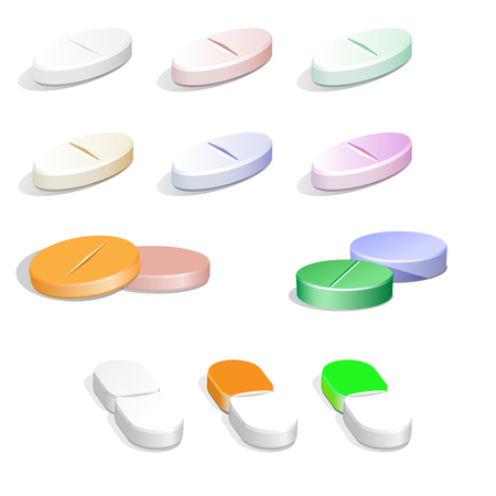 doses: Collection of white and colorfull  pills on white Illustration