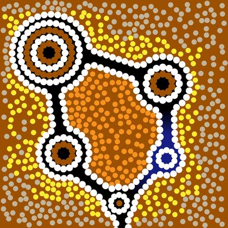 aborigen: Fondo del arte aborigen Australia con puntos