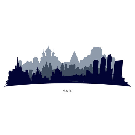 gaz: Russia cities black and grey silhouette. illustration