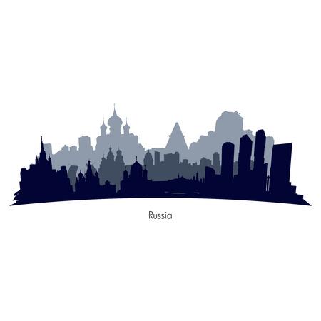 Russland Städte schwarz und grau Silhouette. Illustration
