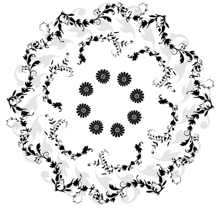 silhouette fleur: cadre noir et blanc circulaire Floral Illustration