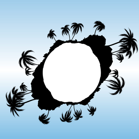 tree silhouettes: Circular background with palm tree silhouettes