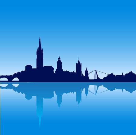 reflexion: Horizonte de la ciudad de Dubl�n silueta de la ilustraci�n con la reflexi�n Vectores