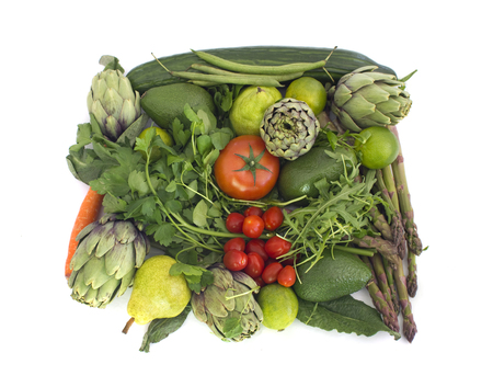 Big square made of green and red veggies isolated on white