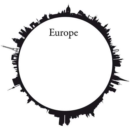 skylines: Europe Circular background with skylines of europeans capitals Illustration