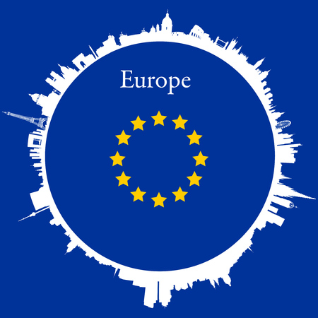 skylines: Europe Circular background with skylines of europeans capitals and flag