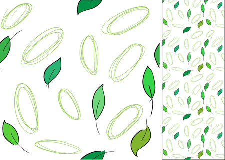 circles: Seamless pattern with leaves and drawn circles Illustration
