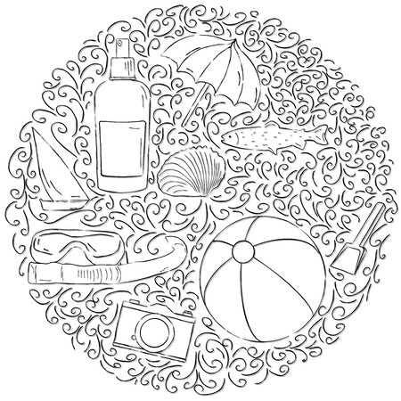 sun lotion: Circle design with different summer vacation icons Ball, camera, sun lotion, boat