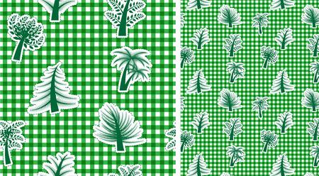 Vichy fond vert sans couture avec des arbres