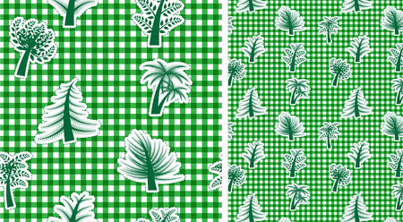 textile texture: Vichy seamless  green background with trees