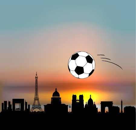 Paris skyline  with  fottballsoccer ball ans sunset sky