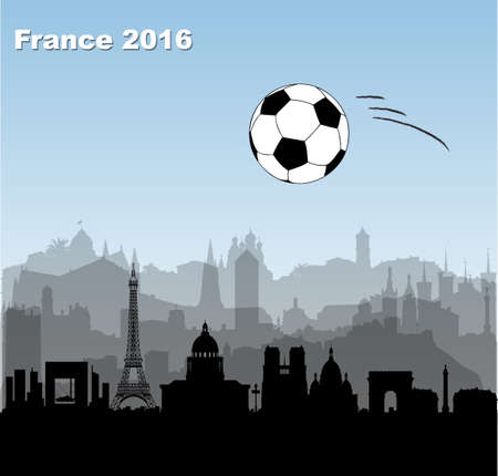 skylines: France cities skylines with  flying football  soccer ball