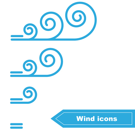 force of the wind: Collection of Wind icons. Wind force Illustration