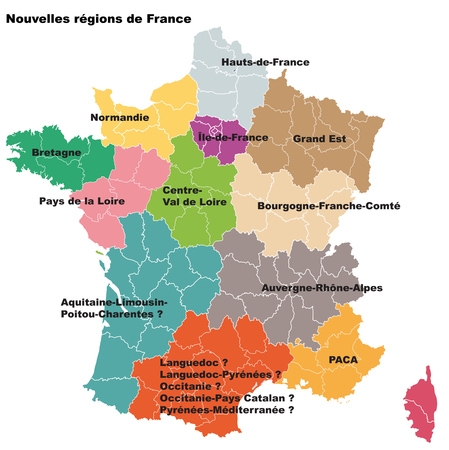 regions: New French regions. Nouvelles regions de France. Separated departments Illustration