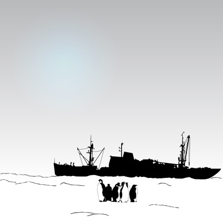 antarctica: Vector antarctica background with  penguin and science ship and snow Illustration