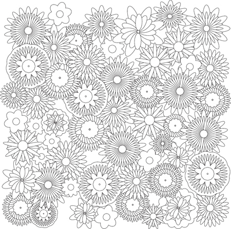 black backgrounds: Flowers shape background  catcher for coloring book Illustration