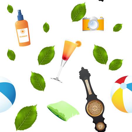 Vector Summer seamless background avec des symboles ANS feuilles