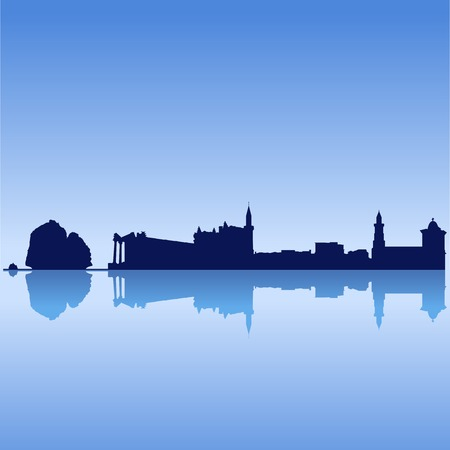antic: Vector silhouette skyline of Cyprus famouse sites on blue  sky Illustration