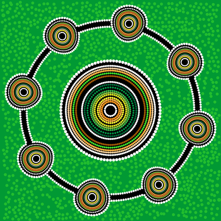 Australia Aboriginal art background with dots. Green