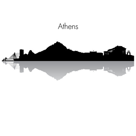 european alps: Detailed skyline of Athens with famouse monuments