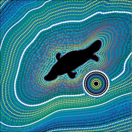 Australia Aboriginal art background with dots. Platypus Illustration