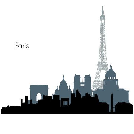 paris skyline: Paris France city skyline silhouette illustration Illustration