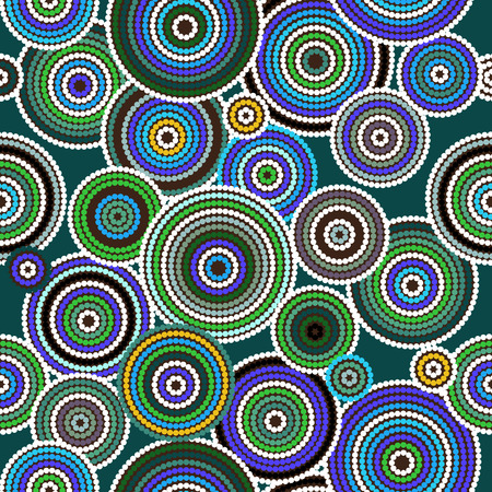 Aboriginal dots and circles art seamless background