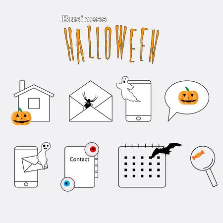 feedback link: Set of Thin lines web icons Halloween theme