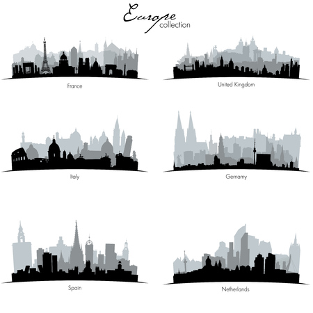 Collection of curved Vector european countries silhouettes