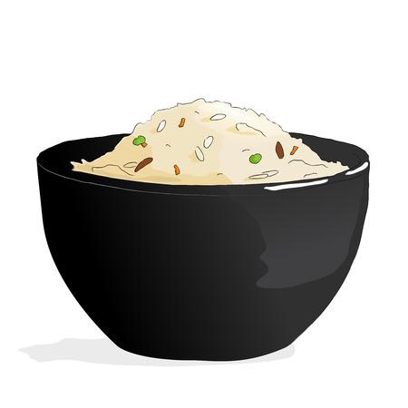 cibo cina asia. Vector riso cantonese illustrazione. Sketch style Vettoriali