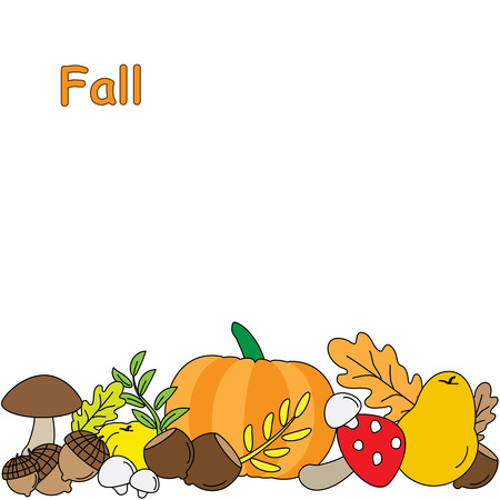 ranger: Vector Background with Fall leaves. fruits and Mushrooms.