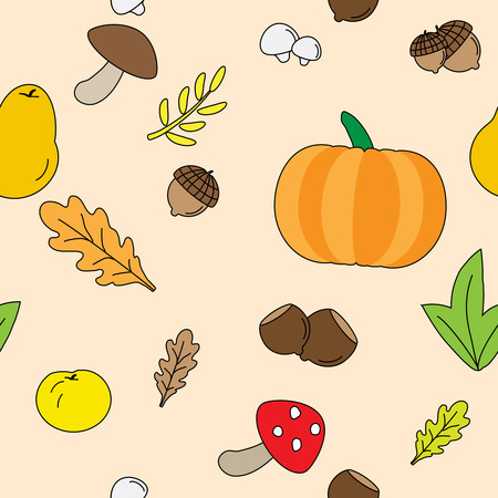 fall leaves background: Seamless Vector Background with Fall leaves. fruits and Mushrooms.