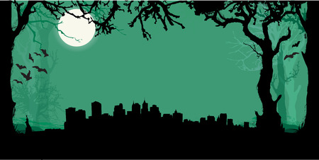 new york silhouette: Black vector New York Silhouette Skyline with scary forest background Illustration