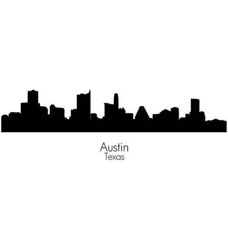 Austin city, capital of Texas black vector silhouette skyline Illustration