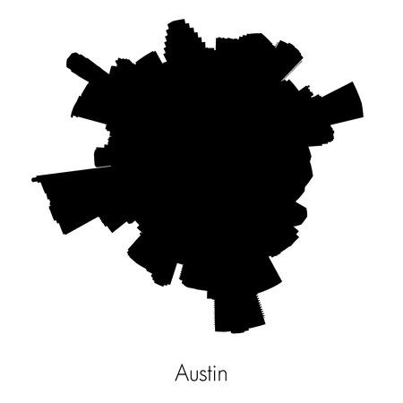 circular silhouette: Planet Austin , capital of Texas black vector circular silhouette skyline