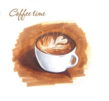 Latte art vintage sketch on brown background